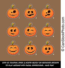 Jack O Lantern Cartoon - 9 Funny n Goof Expressions Set -...