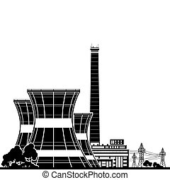 Silhouette Nuclear Power Plant , Thermal Power Station,...