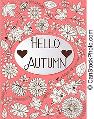 Hello autumn background orange - Vector hello autumn...