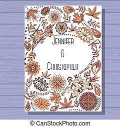 Autumn wedding invitation brown on wooden background -...