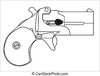 Small Derringer Pistol - A small concealed weapon as used in...