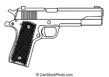 45 Automatic Hand Gun - A typical 45 automatic hand gun...