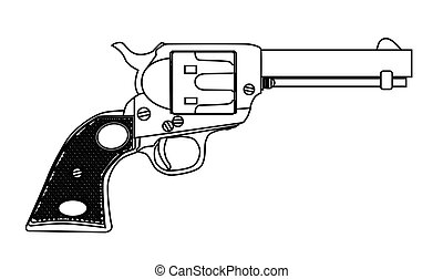 Traditional Six Gun - A wild west six gun isolated over a...