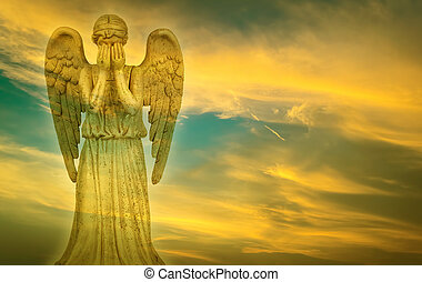Weeping Angel in heaven - Weeping angel over bright sky...