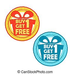buy one get one free with gift, vec - buy one get one free...