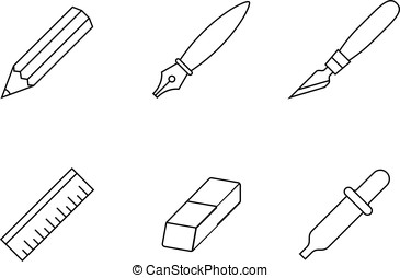 Drawing and painting tools icons - Designer tools. Linear...