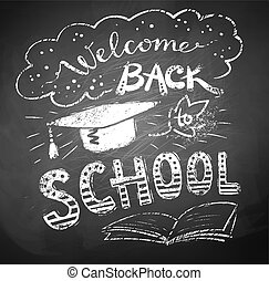 Welcome Back to School poster with mortarboard cap on...