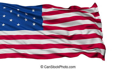 13 Stars USA Isolated Waving Flag - 13 Stars United States...
