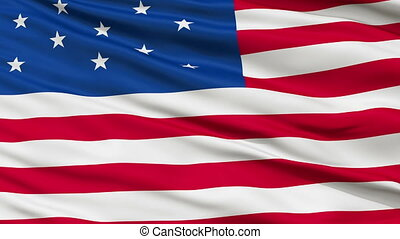13 Stars USA Close Up Waving Flag