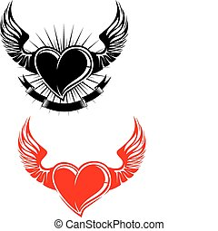 Heart with wings tattoo symbol isolated on white