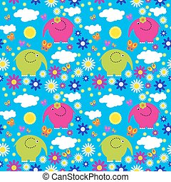 Seamless pattern with colorful elephants on a background of clouds