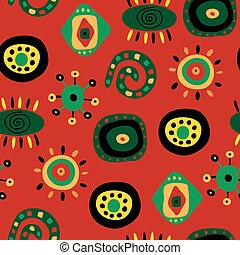 Seamless pattern with bright fun ethnic pattern - Seamless...