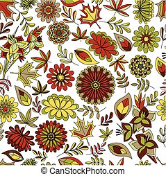 Autumn seamless pattern with flowers and leaves colorful -...