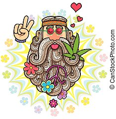 Hippie - Cartoon illustration of hippie.