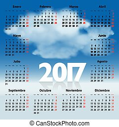 Calendar for 2017 year in Spanish with clouds