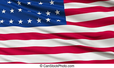 25 Stars USA Close Up Waving Flag - 25 Stars United States...