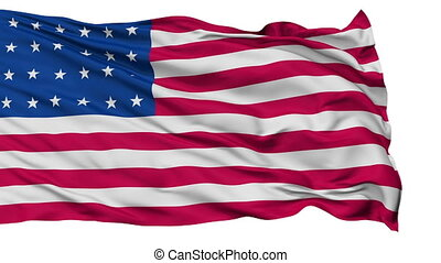 24 Stars USA Isolated Waving Flag - 24 Stars United States...