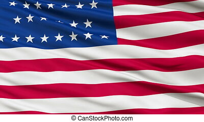 29 Stars USA Close Up Waving Flag - 29 Stars United States...