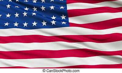 37 Stars USA Close Up Waving Flag - 37 Stars United States...