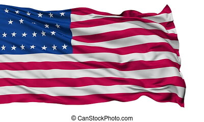 25 Stars USA Isolated Waving Flag - 25 Stars United States...