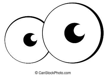 Cartoon eyes - Pair of cartoon eyes or eyeballs looking out...