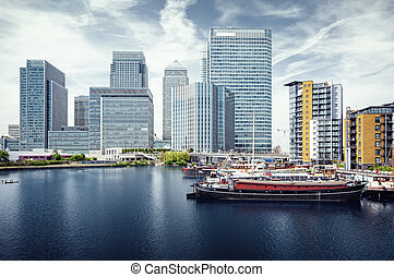 Canary Wharf view from West India Docks