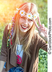 Hippie girl style - Hippie style girl with peace sign...