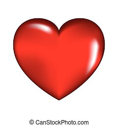 human heart, red love design. Vector illustration isolated on white background