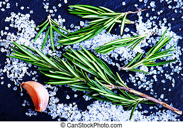 rosemary with salt - rosemary with sea salt on the black...