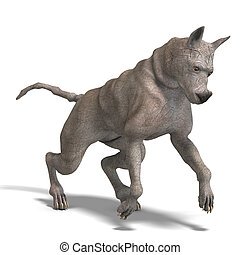 curious alien dog with rhino skin and horn 3D rendering with...