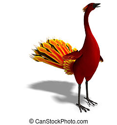 red fantasy bird with beautiful feathers 3D rendering with...