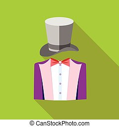 Tuxedo and top hat icon, flat style - icon in flat style on...
