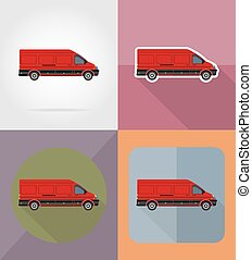 mini bus flat icons vector illustration isolated on...