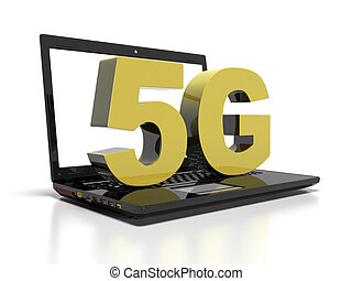 symbol 5G on a laptop computer, high-speed wireless communication concept, 3d render