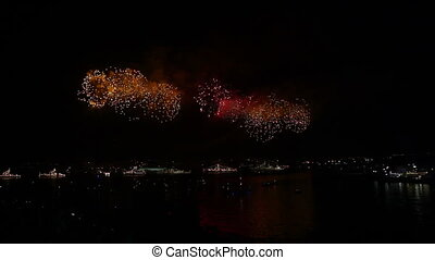 Fireworks on the day of Russian Navy - Fireworks over the...