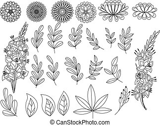 Set of outline autumn leaves and flowers - Vector set of...