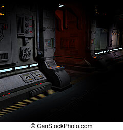 background image of a dark corridor on bord of a spaceship