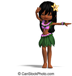 very cute hawaiin cartoon girl is dancing for you. 3D...