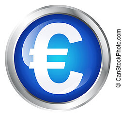 European currency symbol. - Glossy icon or button with Euro...