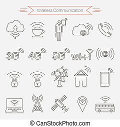 Set of icons of wireless communications