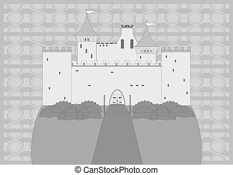 Medieval castle - Ancient castle on the hill, gray, monogram...