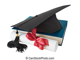 Graduate hat, book and scroll - Black graduate hat, big blue...