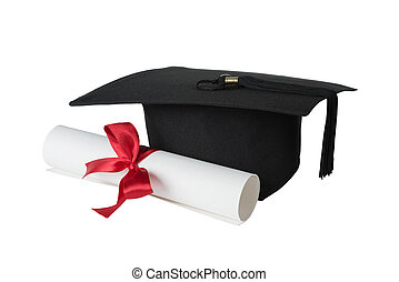 Graduate hat and paper scroll - Black graduate hat and paper...
