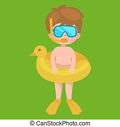 boy in swimsuit isolated, kids summer vacation