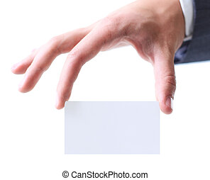 Man's hand keeping a business card among two fingers. - Man...