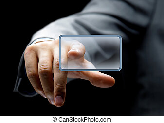 Hand pushing the button - Businessman in suit pushing button