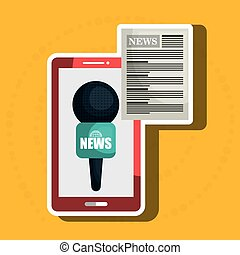 news online with smartphone isolated icon design