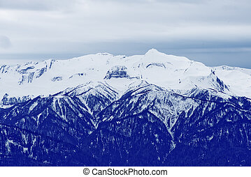 Snow in mountains. - Winter mountain in Sochi. Snow in...