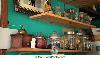Old vintage kitchen shelves with seasonings - Angle view old...