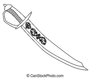 Cutlass In Outline - A typical pirate cutlas isolated on a...